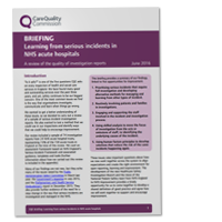 The cover of the briefing document on learning from serious incidents in NHS acute hospitals