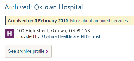 Image of an archived hospital profile in our search results