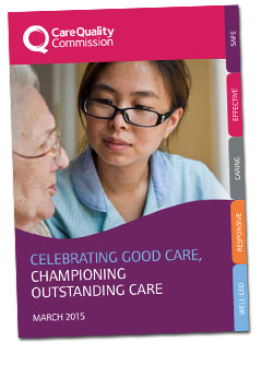 Front cover of the CQC report 'Celebrating good care, championing outstanding care'