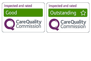 Graphic showing example 'rated by CQC' images