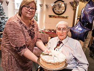 Mr Saunder's 100th birthday cake at Maurice House Broadstairs - photo credit: The Royal British Legion