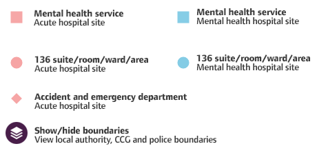 key for the health based places of safety map