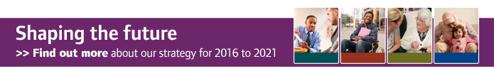 Banner promoting CQC's strategy for 2016 to 2021