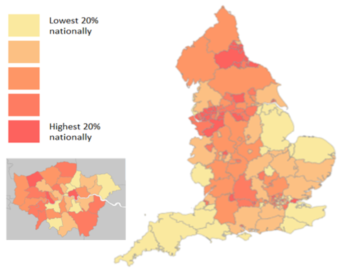 Map showing the highest rates of COVID deaths in care homes happening in London, the North West and the North East