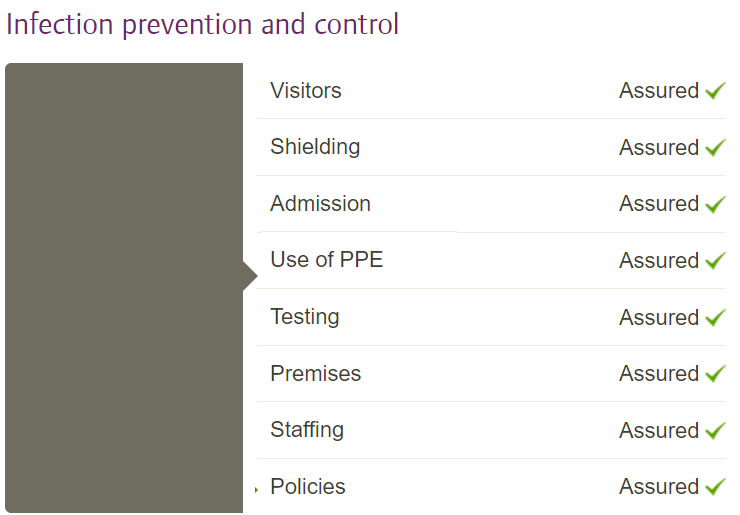 Example of how IPC inspection findings look on a care home profile page