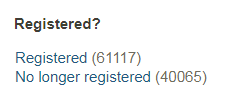 The 'registered' filter on the search results page