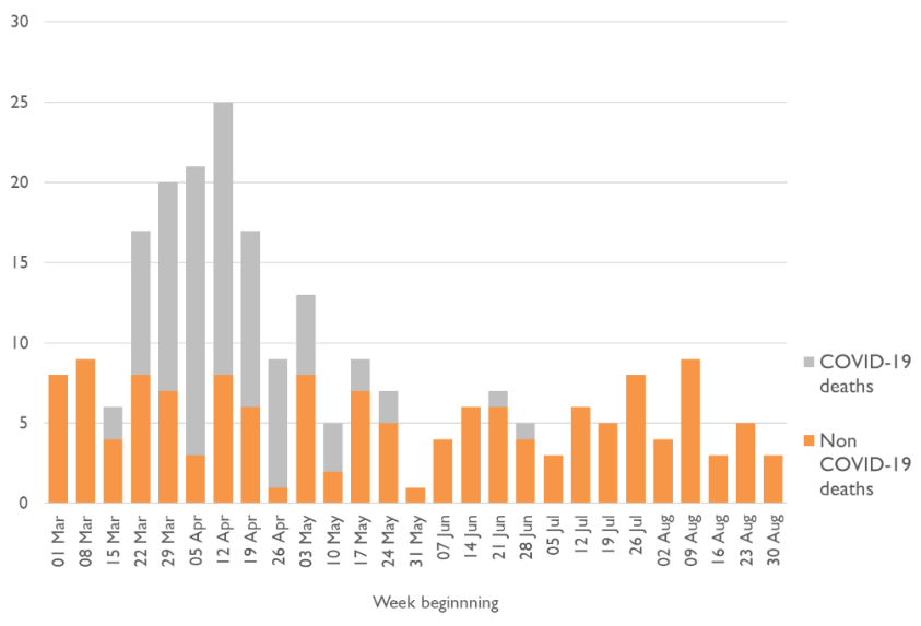 Graph of weekly MHA deaths in England showing sharp rise in March and April