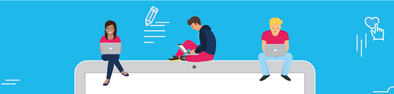 illustration of 3 people using laptops against a blue sky