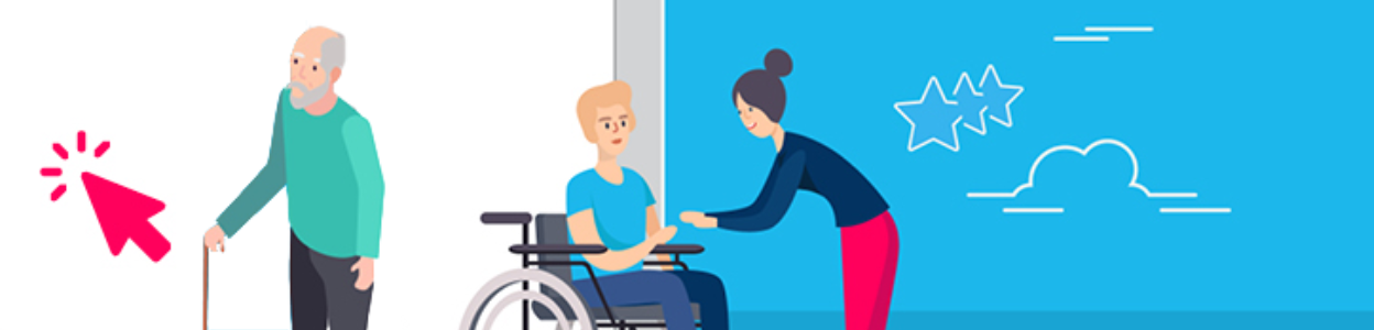 illustration of an older man holding a walking stick and a woman using a wheelchair talking to another person