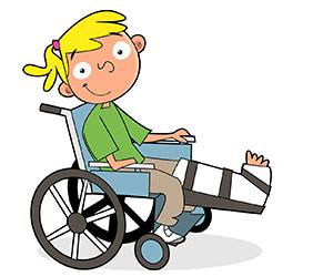 A girl using a wheelchair
