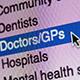 Closeup shot showing GP services selected on a computer screen